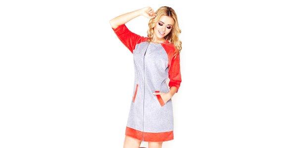 Dámské šedé domácí šaty s červenými prvky Wanmar