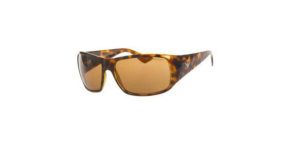 Pánské hnědé želvovinové sluneční brýle Emporio Armani