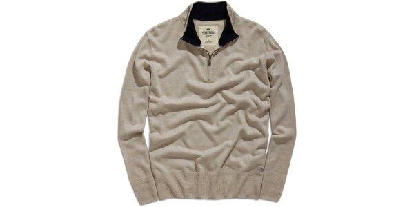Pánský šedobéžový svetr se stojáčkem na zip Timeout