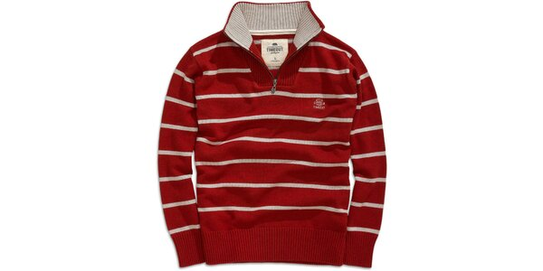 Pánský červený pruhovaný svetr se stojáčkem Timeout