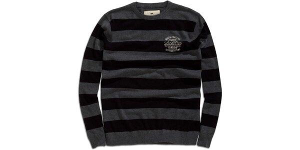 Pánský šedo-černý pruhovaný svetr Timeout