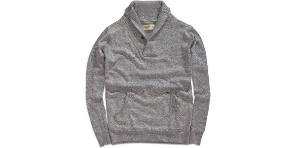 Pánský šedý svetr s klokaní kapsou Timeout