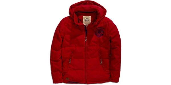 Pánská červená zimní bunda s kapucí Timeout
