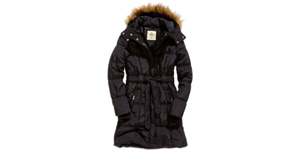 Dámský černý kabát s kapucí Timeout