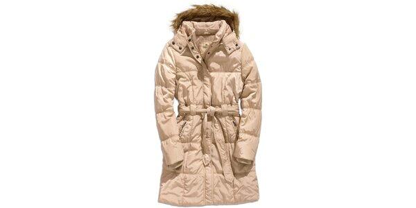 Dámský béžový kabát s kapucí Timeout