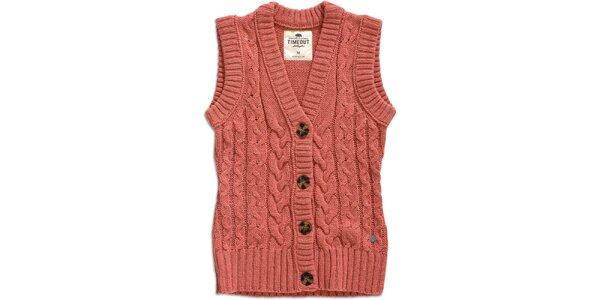 Dámská růžová vesta s knoflíky Timeout