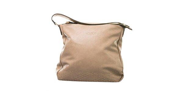 Dámská béžová kabelka s ozdobnými cvočky Sisley