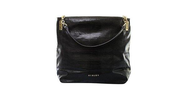 Dámská černá kabelka s pruhovanou zadní stranou Sisley