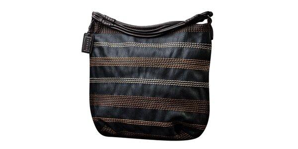 Dámská černá kabelka s kontrastním prošíváním Sisley