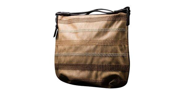 Dámská hnědobéžová kabelka s kontrastním prošíváním Sisley