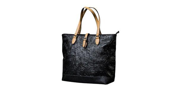 Dámská černá kabelka s kontrastními poutky Sisley