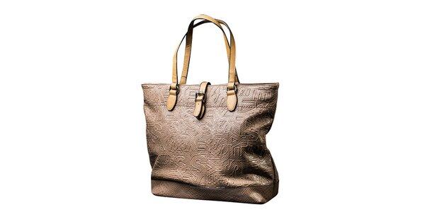 Dámská světle béžová kabelka s kontrastními poutky Sisley