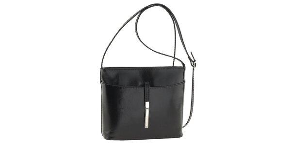 Dámská černá kožená kabelka přes rameno Tina Panicucci