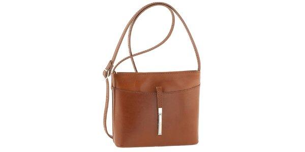 Dámská hnědá kožená kabelka přes rameno Tina Panicucci