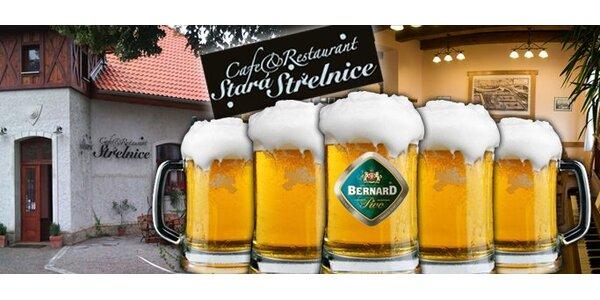 Jen 15 Kč za PĚT točených piv Bernard 11° na Staré střelnici v Kroměříži.