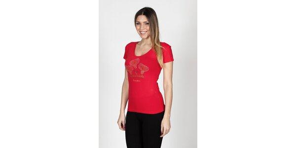 Dámské červené tričko Braccialini s tropickými květy