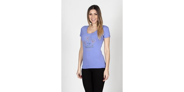 Dámské šeříkové tričko Braccialini s tropickými květy
