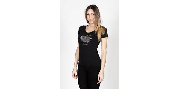 Dámské černé tričko Braccialini se sedmikráskou