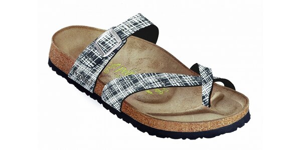 Černo-bílé kostkované pantofle Papillio