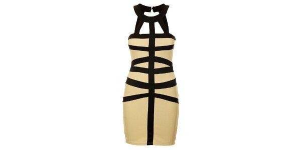 Dámské béžové šaty s průstřihy Victoria Look