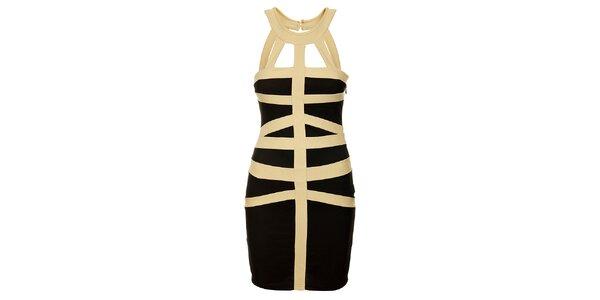 Dámské černé šaty s průstřihy Victoria Look