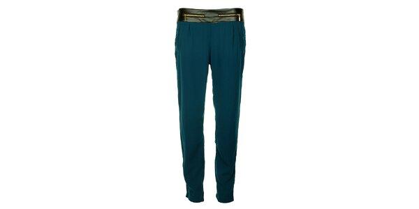 Dámské indigové kalhoty Victoria Look se zlatými zipy