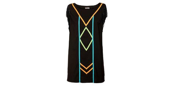 Dámské černé šaty s třásněmi Victoria Look