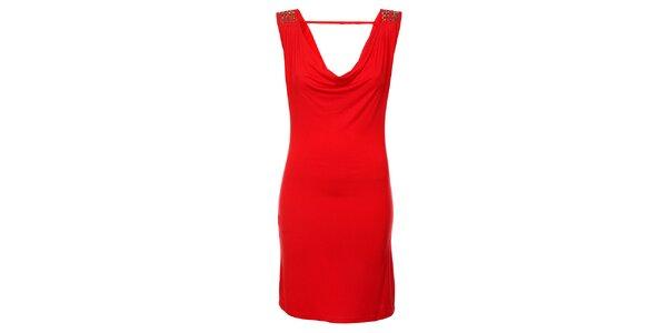 Dámské červené šaty Victoria Look s korálky