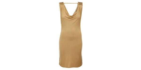 Dámské světle béžové šaty Victoria Look s korálky
