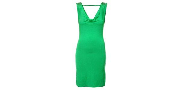 Dámské sytě zelené šaty Victoria Look s korálky