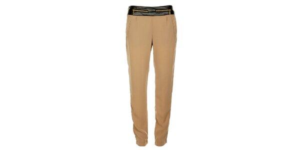 Dámské béžové kalhoty Victoria Look se zlatými zipy