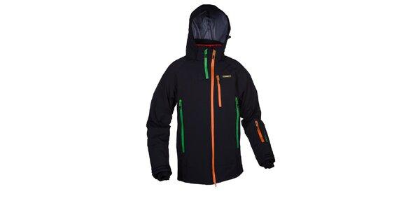 Pánská černá lyžařská bunda s barevnými zipy Envy