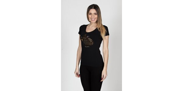 Dámské černé tričko Braccialini s kolouškem