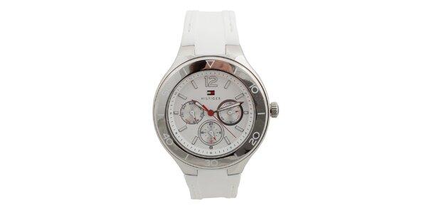 Dámské analogové hodinky s bílým silikonovým řemínkem Tommy Hilfiger
