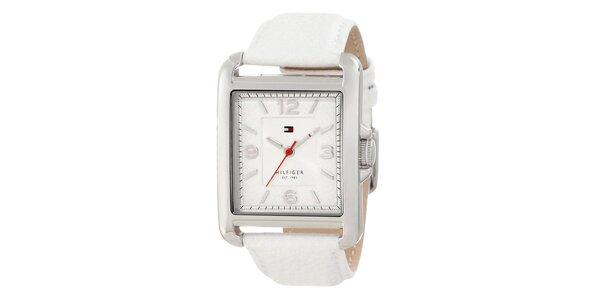 Dámské ocelové hodinky Tommy Hilfiger s bílým koženým řemínkem