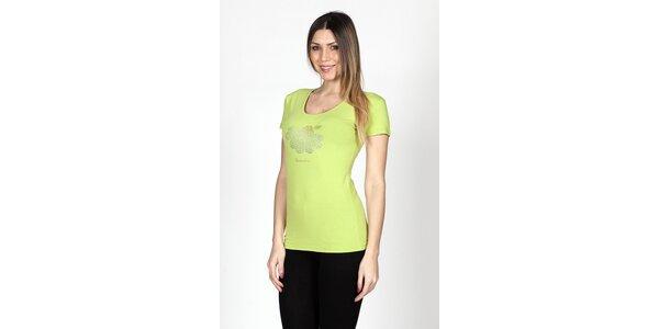Dámské limetkové tričko Braccialini se sedmikráskou