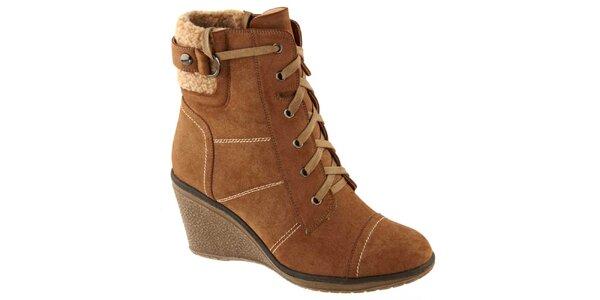 Dámské hnědé kotníčkové boty na podpatku Betsy