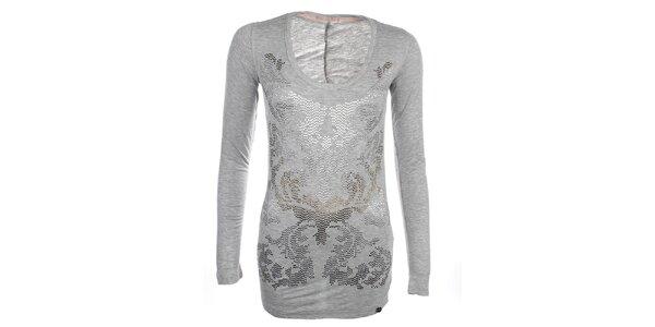 Dámské světle šedé prodloužené tričko s dekorativní aplikací Phard