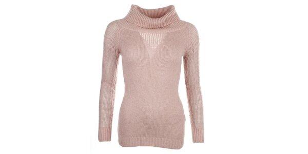 Dámský světle růžový svetr s rolákem Phard