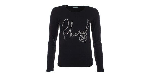 Dámské černé tričko s dlouhým rukávem a kamínkovým nápisem Phard
