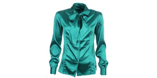 Dámská lesklá košile s vázankou v zeleném provedení Phard