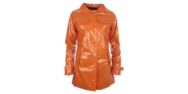 Dámský oranžový lesklý kabát s knoflíky Phard