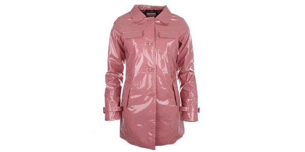 Dámský růžový lesklý kabát s knoflíky Phard