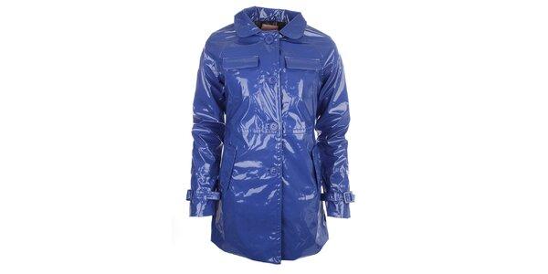 Dámský modrý lesklý kabát s knoflíky Phard
