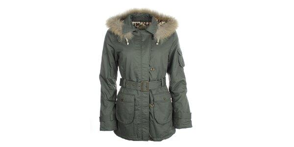Dámská khaki bunda s kožíškem Phard