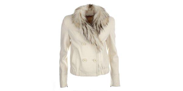 Dámský smetanový kabátek s kožešinkou Phard