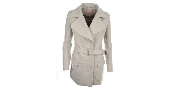 Dámský světlý kabát s páskem Phard