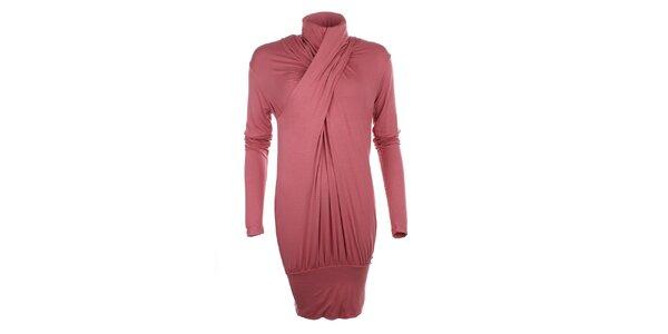 Dámské růžové nařasené šaty s rolákem Phard