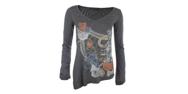 Dámské šedé tričko s barevným potiskem Phard