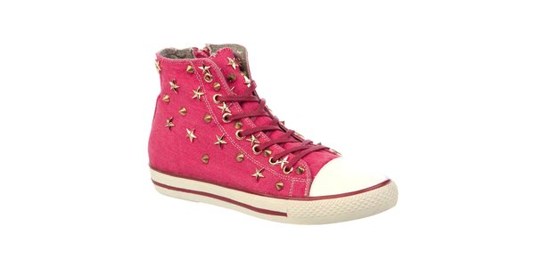 Dámské růžové kotníkové tenisky s hroty a hvězdičkami Keddo